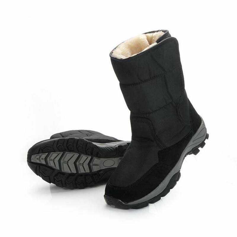 2018 New Fashion men's shoes snow boots black plush boots adult men cotton sneakers winter waterproof Rubber boot big size 40-48