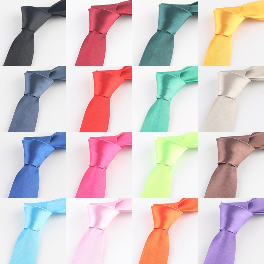 Tie For Men Fashion Slim Tie Solid Color Necktie Polyester Narrow Cravat 5cm Royal Blue Red Black Gold Wedding Party Accessories