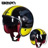 BEON Helmet Motorcycle Motorbike Casco Vintage Moto Helmet 3/4 Open Face Capacete Biker Retro Scooter Helmet Double Visor