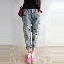Весна осень женщины нью-корейский мультфильм вышитые носить широкий женский керлинг кросс-брюки мода джинсы