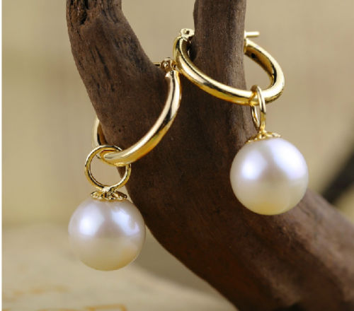 perfect 9-10mm round white Australia south sea pearl dangle earring 14K/20 GOLDperfect 9-10mm round white Australia south sea pearl dangle earring 14K/20 GOLD