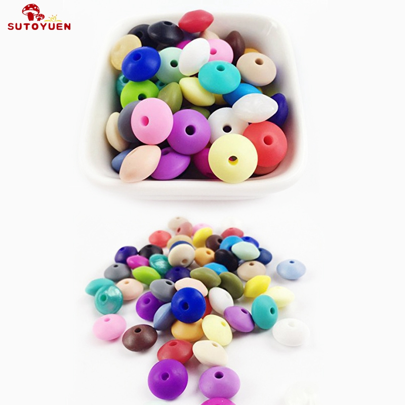 200pcs Lentil Silicone Teething Beads BPA Free Loose Abacus Beads for DIY Chew Necklace Teether Jewelry Making Pacifier Clips