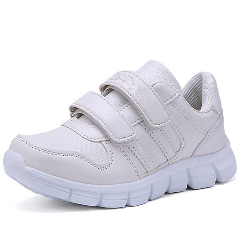 qloblo 2018 Hot Fashion Kids Shoes Tenis Infantil Breathable Children School Sneakers For Boys Girls White Size 27-37