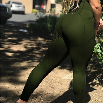 Sexy Push Up Women Leggings Solid Color High Waist Sportswear Leggings