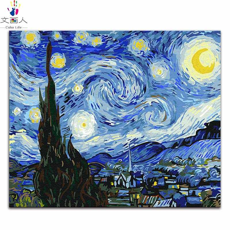 "Diy painting by numbers Vincent Van Gogh's paintings ""The Starry Night"" abstract Impression art pictures by numbers with colors"