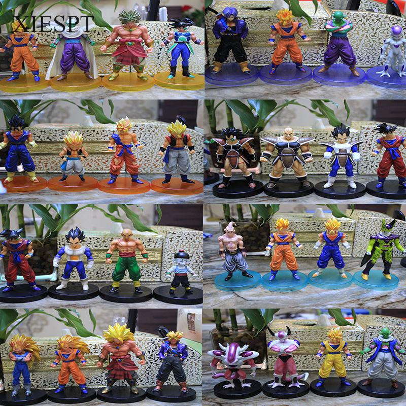 4pcs/set Dragon Ball Z 12cm PVC Action Figure Toys Model Collect Figurines Doll Free Shipping