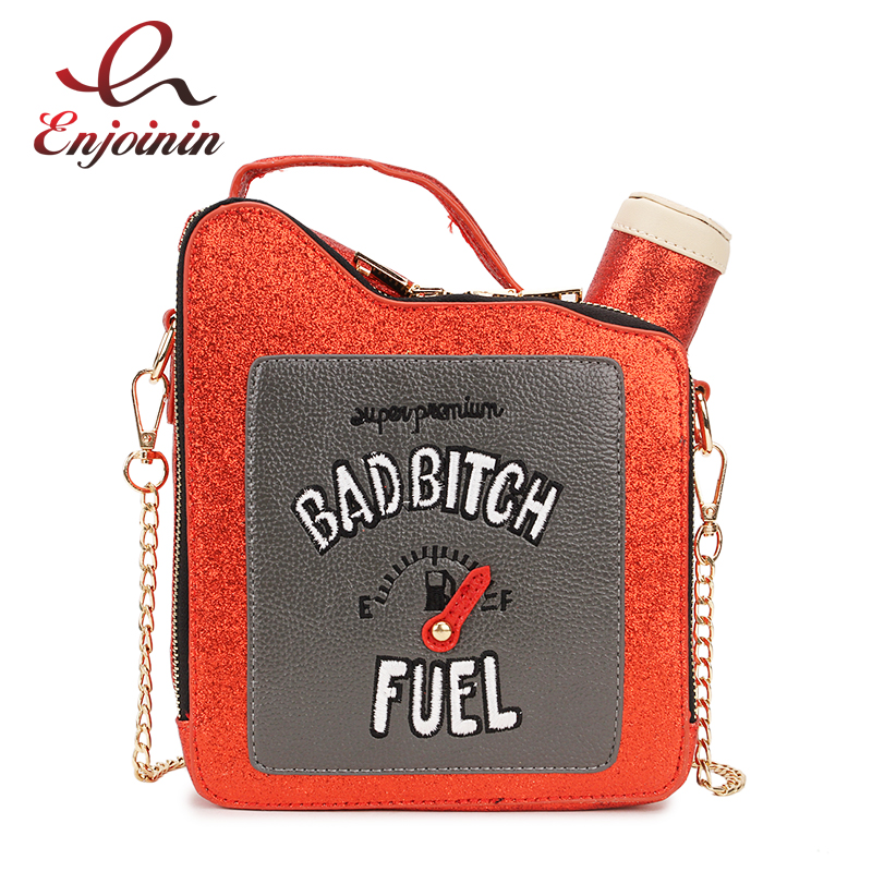 Fashion Fun Personality Embroidery Letters Gasoline Bottle Shape Chain Purse Handbag Shoulder Bag Ladies Purse Mesenger Bag Flap