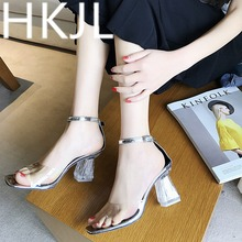 HKJL Fashion 2019 summer new elegant scotch stiletto heels ladylike style T buckle peep-toe chunky sandals for women A388