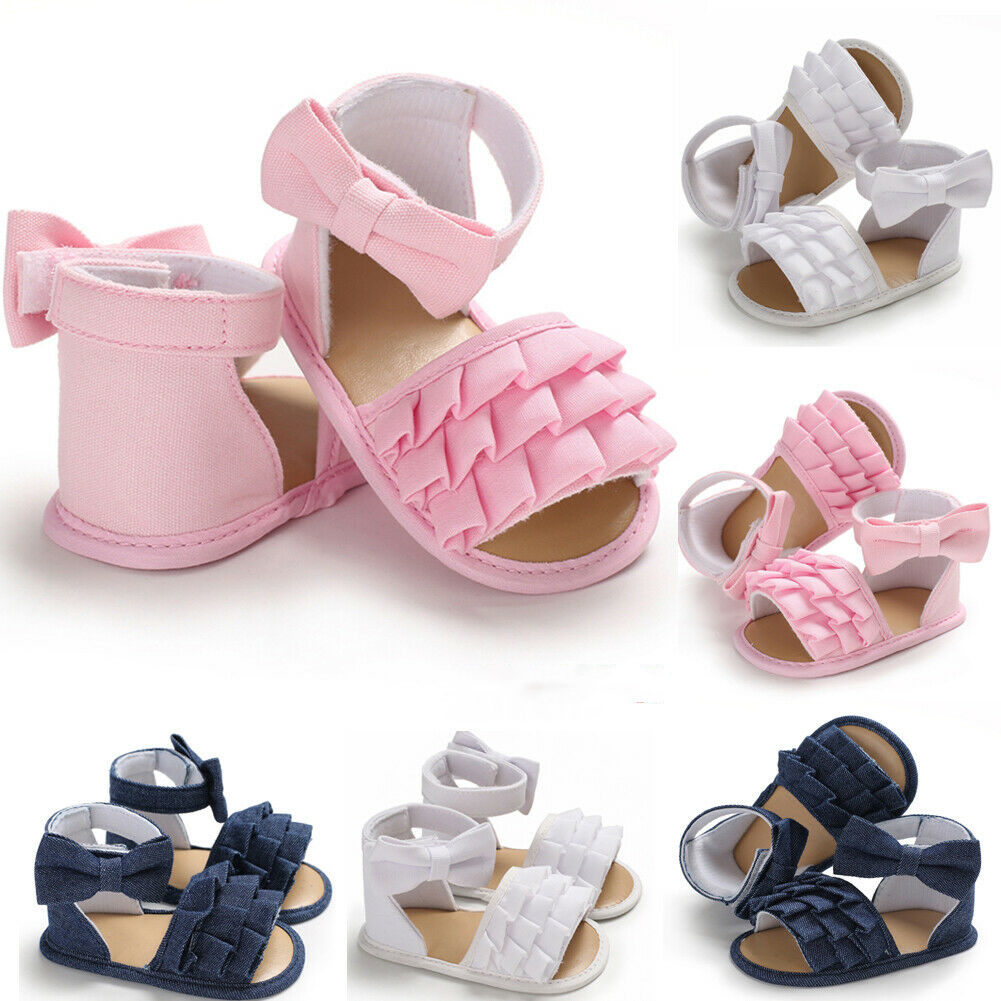 Cute Summer Baby Girls Sandals Ruffle Solid Casual Canvas Toddler Baby Girls Soft Crib Bow Shoes Princess Shoes Clogs