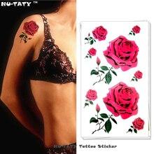 Nu-TATY Sexy Red Roses Temporary Tattoo Body Art Arm Flash Tattoo Stickers 17x10cm Waterproof Fake Henna Painless Tattoo Sticker