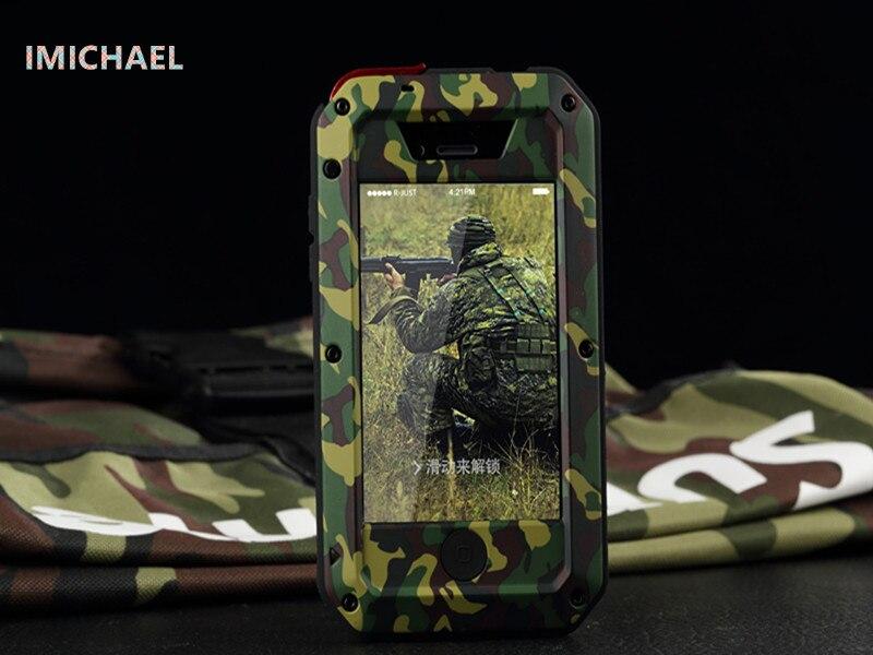imágenes para Ahora lujo IMICHAEL tres siguientes de 360 para el iphone de apple 5S SE 6 s plus camuflaje a prueba de agua Caja del teléfono a prueba de polvo de la gota caso