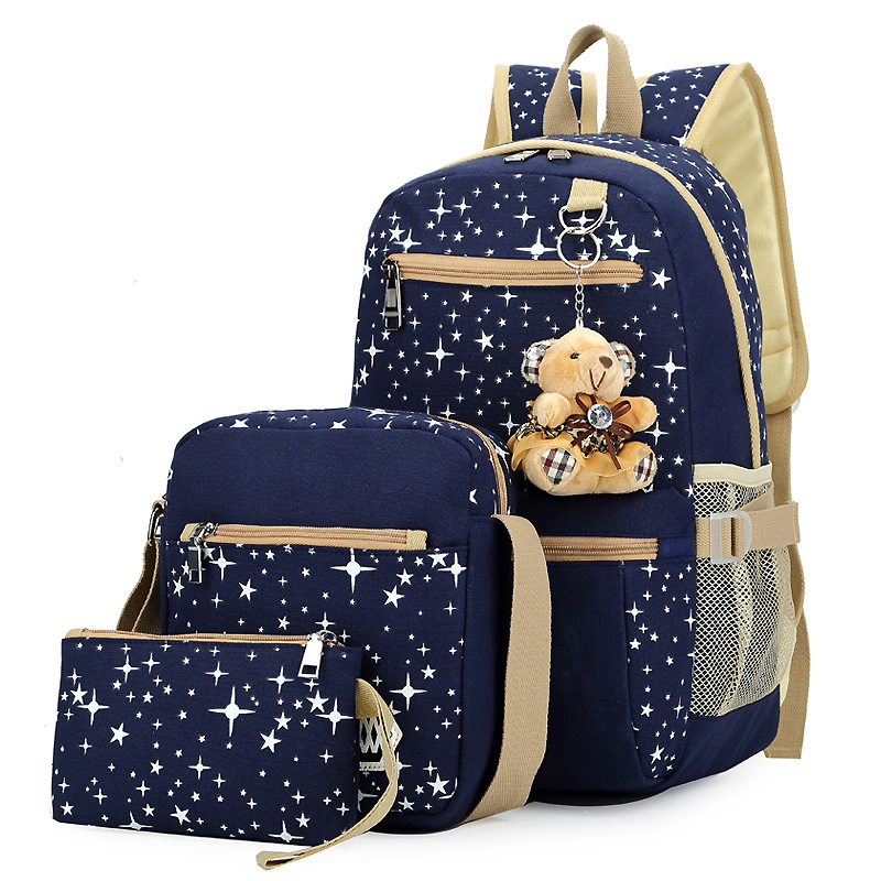 A Three Piece Luggage Bags Fashion Women Canvas Backpack Schoolbags School Bag For Girl
