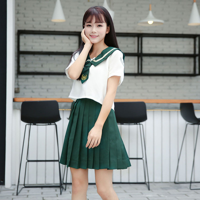 f789dab26 New arrival japanese school uniform girls class High School Women green  sailor suits for sexy girls