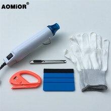 110V US Plug /220V EU Plug pistolet à Air chaud électrique + raclette en feutre + coupeur de vinyle + couteau + gants Kit doutils demballage de voiture Film demballage en vinyle