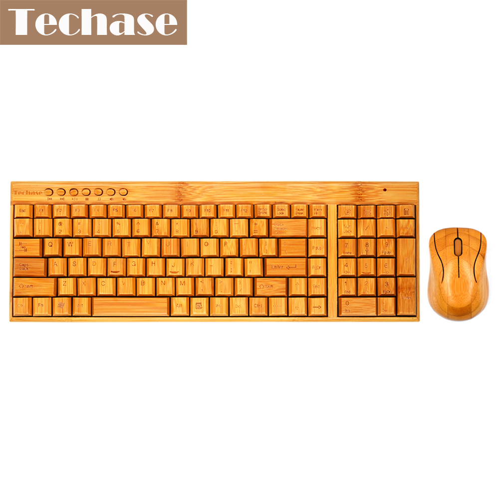 Techase in legno sottile Teclado e mouse Sem Fio tastiera e mouse wireless Bamboo Design Mini tastiera e mouse combinati per laptop