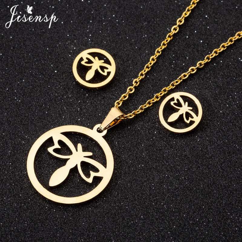 Jisensp Vintage Dragonfly สร้อยคอสแตนเลสผู้หญิงสัตว์น่ารักจี้สร้อยคอทองคำทุกวันเครื่องประดับ joias