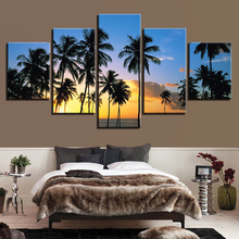 Framework Print Pictures Home Decor Canvas Painting 5 Panel Sunset California Beaches Palm Trees Wall For