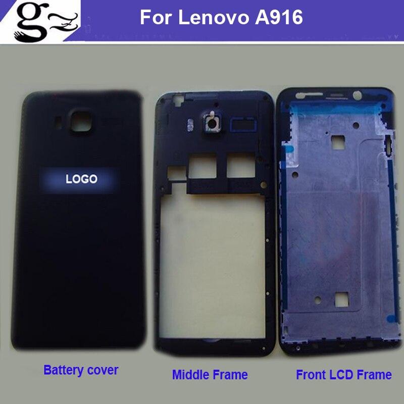 Полный Корпус для <font><b>lenovo</b></font> <font><b>A916</b></font> 916 сзади Батарея обложка + Ближний рамка + спереди ЖК-дисплей поддерживающие рамка Шасси черный, белый цвет