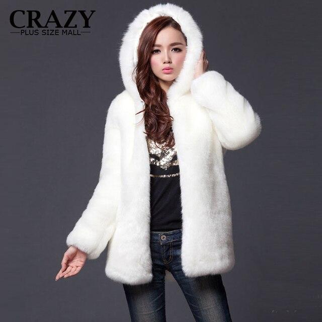 2016 Новый Плюс Размер XL XXL XXXL 4XL 5XL 6XL Зима Теплая белый Искусственного Меха Пальто С капюшоном Роскошный Искусственный Мех Пальто Для женщины