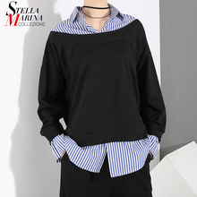 Корейский стиль поддельные две части Женские Пуловеры Черный свитшот с поддельной рубашкой сшитый Женский Уникальный Повседневный свитер 7175
