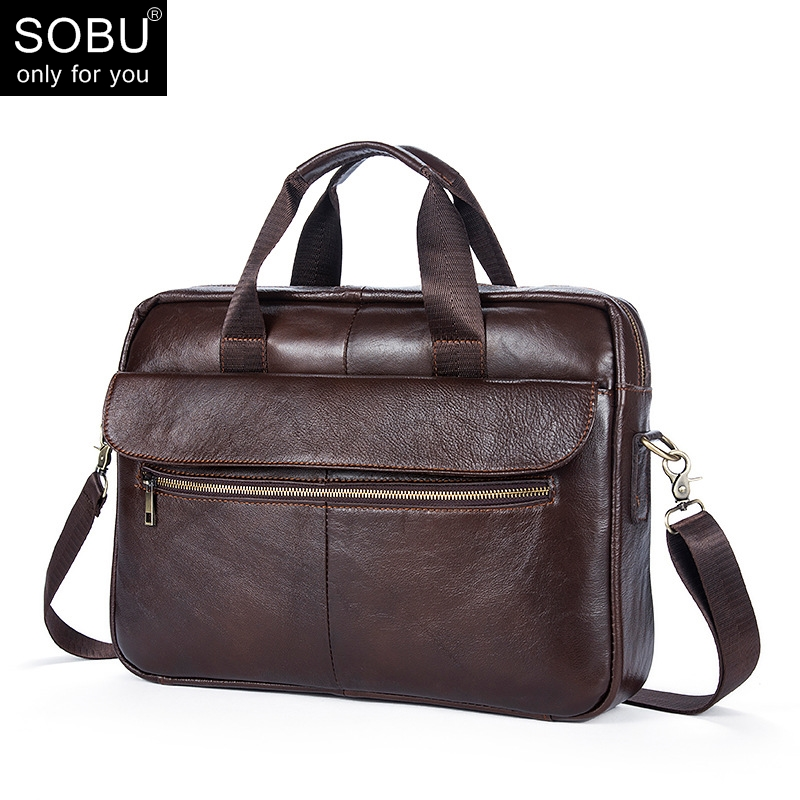 Genuine Leather Men Briefcase New Fashion Commercial Laptop Briefcase Cross body Shoulder Bag N073