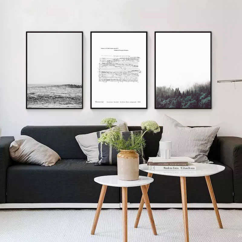 . Modern Nature Landscape Seaside Forest Music Score Canvas Art Print Print  Poster Wall Living Room Bedroom Home Decor Frescoes