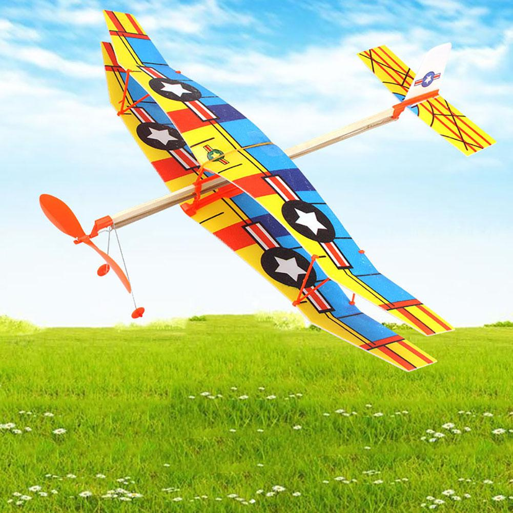 Hand Throw Flying Glider Planes Assembled Outdoor Early Education Biplane Handmade Aircraft Glider Plane Toy Model Gifts