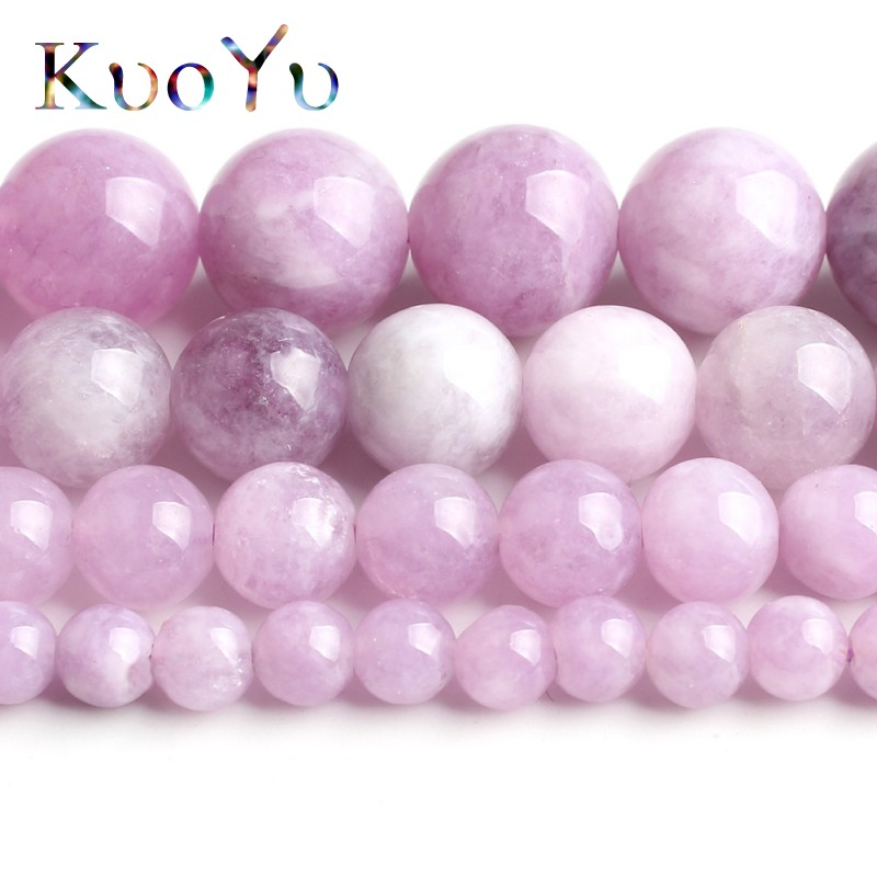 Купить с кэшбэком Natural Purple Angelite Stone Beads Round Loose Spacer Beads 15''Strand 4/6/8/10mm For Jewelry Making DIY Bracelets Necklace