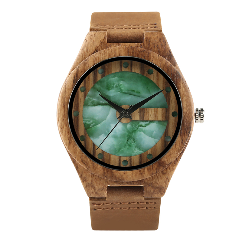 Unique Double Layer Design Oriental Jade Style Wooden Watch Unisex Bamboo Craft Wristwatch Creative Wood Clock Gifts