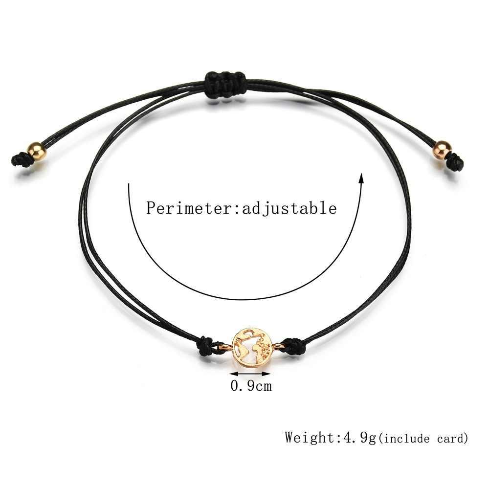 2019 MỚI Làm Cho MỘT Mong Muốn thẻ có thể điều chỉnh vòng tay lãng mạn 7 màu sắc rope chain vàng màu sắc Trái Đất Bản Đồ mặt dây chuyền vòng Vòng Đeo Tay phụ nữ