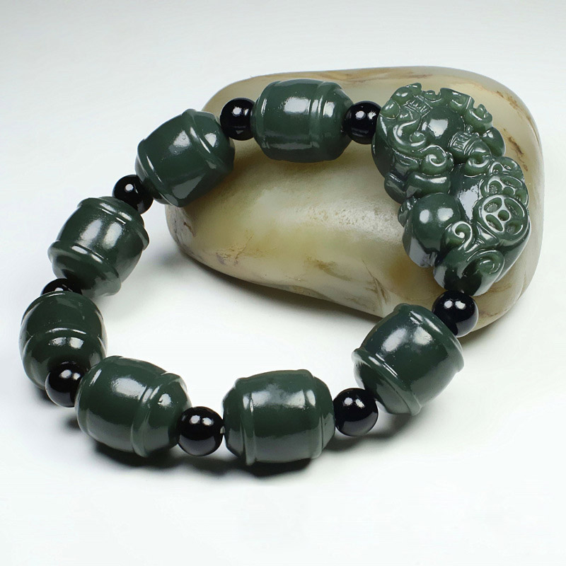 Natural XinJiang HeTian Qing Jade Bracelets Drop Shipping Jade Stone Beads Brave Troops Bracelet bangles For Women Men in Bracelets Bangles from Jewelry Accessories