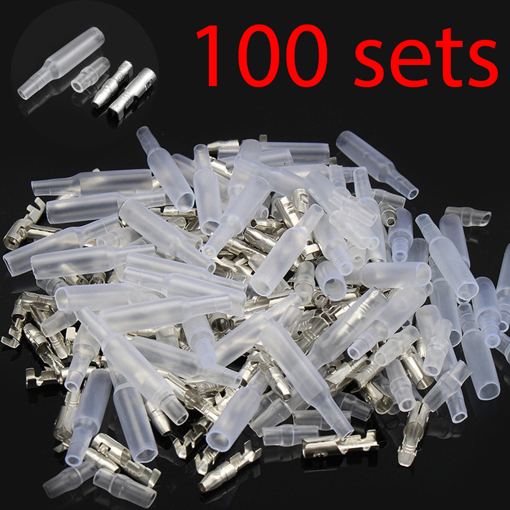 цена на 100 Sets x 4.0 bullet terminal car electrical wire connector diameter 4mm pin set 100sets=400pcs Female + Male + Case
