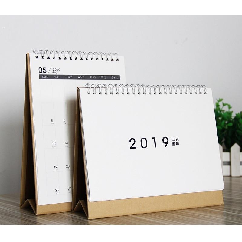 2019 de moda de papel Kraft Simple mesa Calendario de escritorio del organizador del programa diario planificador 2018,09 ~ 2019,12