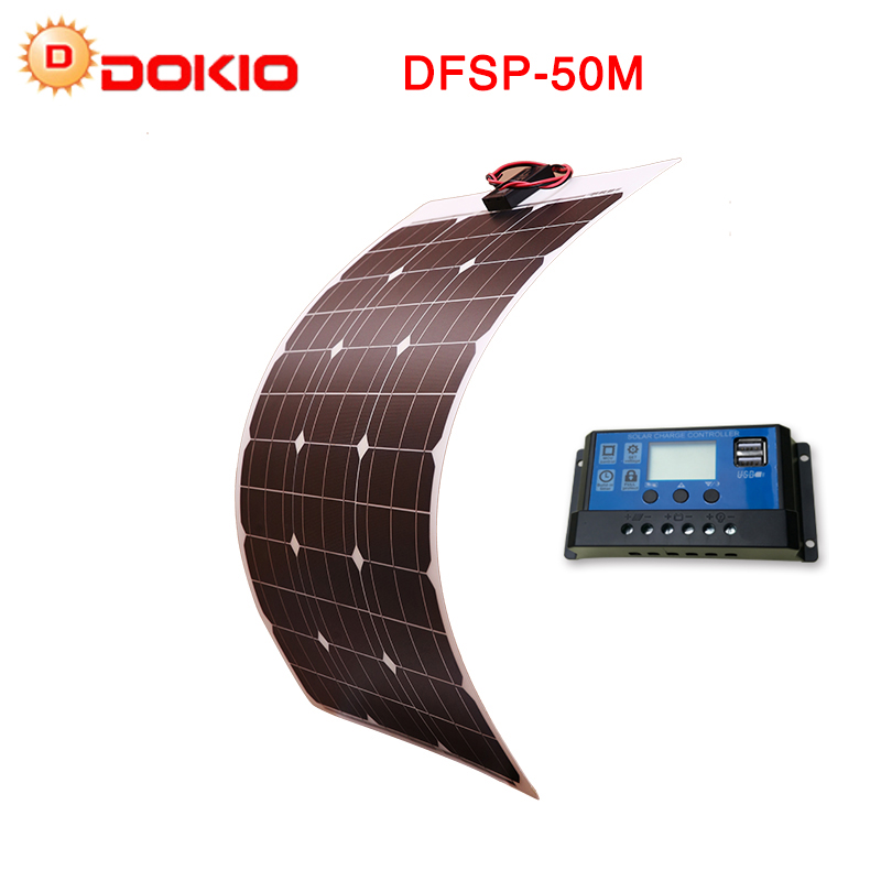 DOKIO Brand Solar Battery 50W Flexible Solar Panel 12V 24v Controller +10A Solar System Kits for Fishing Boat Cabin Camping/car 50w diy kits solar panels system 50w flexible solar panel cell 12v 10a solar controller 1 set 3m mc4 cable connector 1 set clip