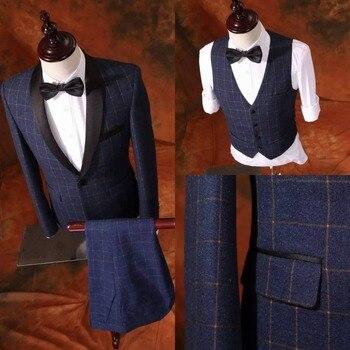 Slim Fit Groom Tuxedo 8 Styles Groomsmen New Arrival Wedding/Dinner Suits Best Man Bridegroom (Jacket+Pants+Vest) BF2
