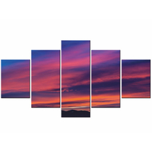Canvas Painting HD Printed Poster For Living Room 5 Panel Sunset Dusk Fire Cloud Wall Art Home Decor Framework Modern Pictures