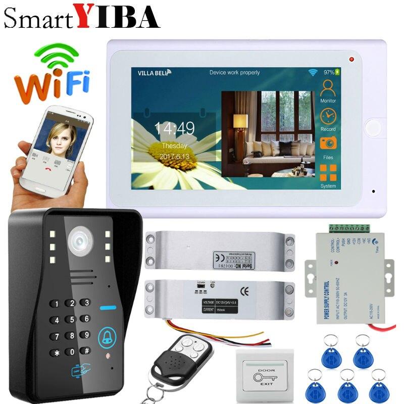SmartYIBA Video Intercom 7 Inch White Monitor Wifi Wireless Video Door Phone Doorbell Camera Intercom System APP OPEN Lock
