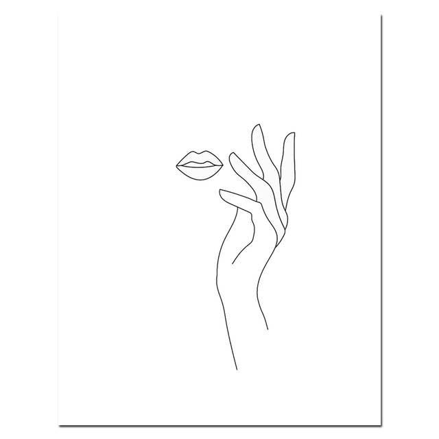 079 46 De Réductioncroquis Mur Art Dessin Au Trait Impression Minimaliste Simple Mode Toile Affiche Noir Blanc Peinture Amour Citation Mur Photo