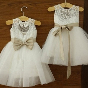 2017 New Flower Girl Dresses with Bow Sashes Wedding Party Communion Pageant Dress Little Girls Kids/Children Dress for Wedding little flower girl dresses crew neckline with collar lace appliques a line white little girls first communion pageant dress 2017