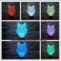 Regalos creativos 3D Vision Salvaje Bestia Canis Lupus Ciervo LED 7 Colores Gradientes Lobo Cabeza Dormitorio de La Lámpara de Escritorio Decoración de La Noche luz