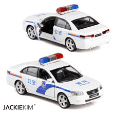 1:32 Scale Hyundai Sonata Alloy Police Diecast Metal Car Model With Pull Back Sound Light Toys Car Collection Free Shipping(China)