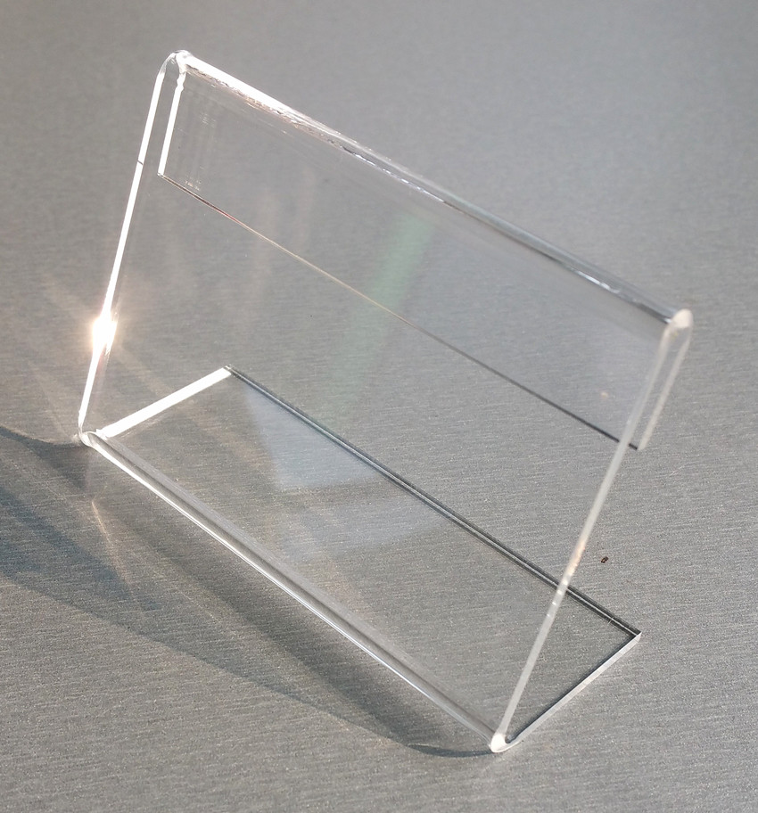 Small Clear T2mm Plastic Acrylic Sign Display Price Tag Paper Promotion Card Table Label Holders L Stands Horizontal 1000pcs
