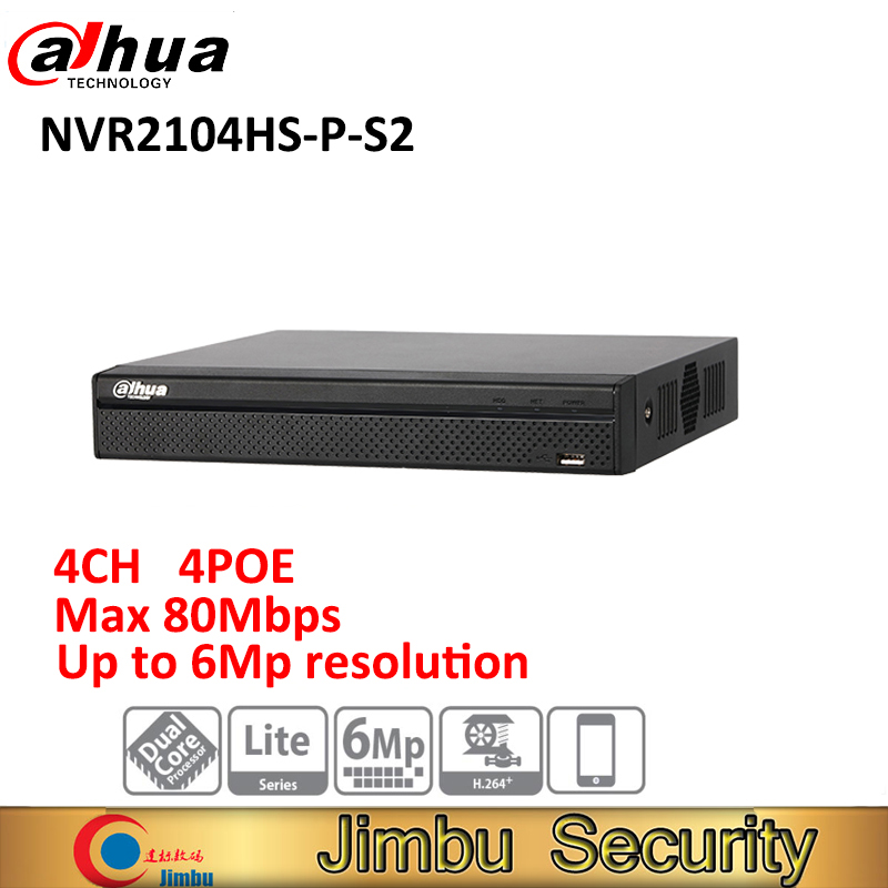 Original Dahua NVR2104HS-P-S2 4Ch Video Recorder NVR Compact 1U 4PoE Lite H.264+/H.264 Up to 6Mp Network ixfk66n50q2 to 264