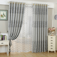 Custom Modern Simple Jacquard Blackout Curtains For Living Room Decoration Water Cube Cedroom Curtain Fabric Geometric