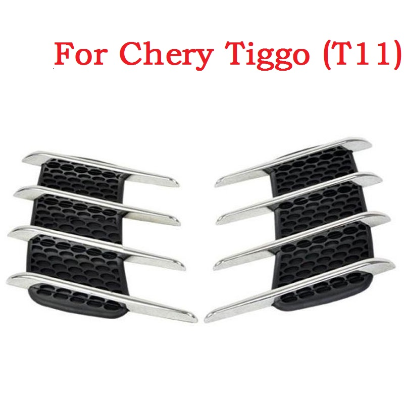 Shark gills realistic outlet decoration side draught hood vents air intake engine cover modified sticker For Chery Tiggo (T11) epman universal 3 aluminium air filter turbo intake intercooler piping cold pipe ep af1022 af