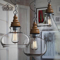 Mini Clear Glass Shade Pendant Lights Industrial Lighting Fixture Kitchen Island Bar Hotel Shop Antique LED Pendant Ceiling Lamp
