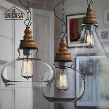 лучшая цена Mini Clear Glass Shade Ceiling Lights Industrial Chandelier Lighting Kitchen Island Pendant Light Antique Pendant Ceiling Lamp
