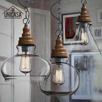 Mini Pantalla de cristal transparente luces colgantes accesorio de iluminación Industrial cocina isla Bar tienda de Hotel antiguo LED lámpara de techo colgante