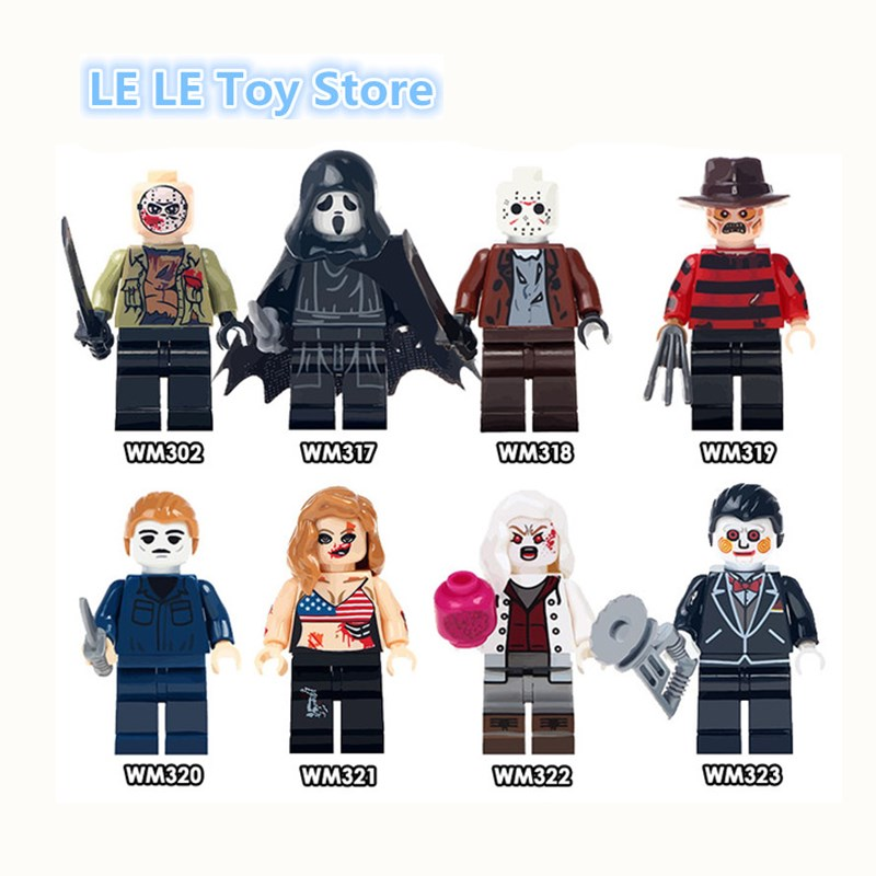 8pcs/lot WM6003 The Horror Theme Movie Black Friday Jason Scream Killer Freddy Krueger Super Hero Bricks Building Blocks Toy