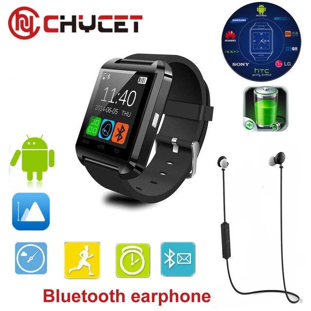 Chycet reloj inteligente Bluetooth U8 reloj relojes impermeable podómetro  Smartwatch hombres reloj para IOS teléfono Android 7fba444cefe